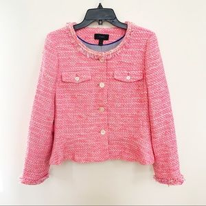 J Crew Tweed Peplum Blazer/Jacket in Neon Fushia